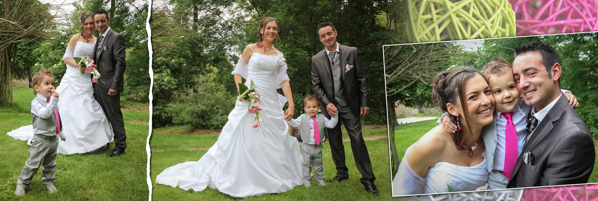photo de mariage couple et enfant